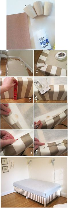 Upholstered box spring eliminates the need for a bed skirt - Click image to find more DIY & Crafts Pinterest pins