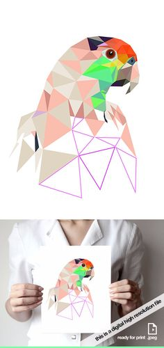 Printable parrot Printable art Geometric art by villavera on Etsy