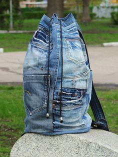 Unique Patchwork Upcycled Eco Jeans Denim Backpack Sailor Bag with Pockets Denim Purse, Denim Jeans, Diy Bags Jeans, Denim Fabric, Patchwork Jeans, Jean Backpack, Denim Handbags, Denim Crafts, Recycled Denim