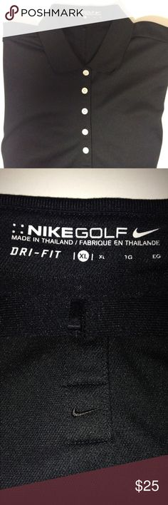 Nike dri fit golf shirt black XL Excellent preloved condition.  Black Nike dri fit golf shirt.  XL Nike Tops