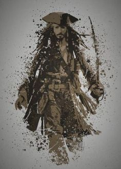 metal canvas Movies & TV pop culture splatter jack sparrow pirate pirates of the caribean sword johnny depp