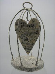 Lovely paper mache bird cage from polkadotponie