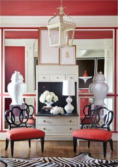Contemporary (Modern, Retro) Red Dining Room by Tobi Fairley @Tobi McDaniel Fairley