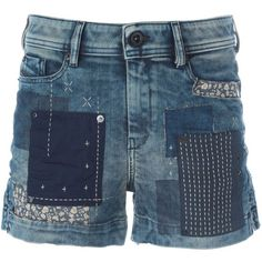 Diesel Patchwork Denim Shorts (€215) ❤ liked on Polyvore featuring shorts, blue, denim short shorts, short jean shorts, blue jean short shorts, blue shorts and patchwork shorts Blue Jean Shorts, Denim Shorts, Blue Denim, Diesel Fashion, Patched Jeans, Denim Patchwork, Cute Jeans, Womens Fashion