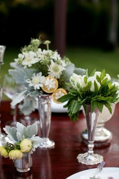 I love silver mixed with flowers.