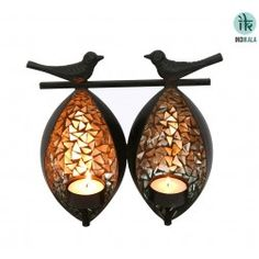 Twin Birds Tea Light Holder
