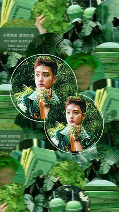 #d.o. #exo Green Wallpaper, Colorful Wallpaper, Kyungsoo, Chanyeol, Exo Lockscreen, Exo Do, Do Kyung Soo, Aesthetic Collage, Lock Screen Wallpaper