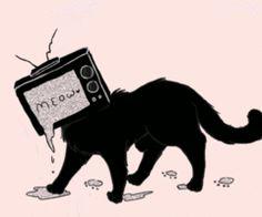 Ah ahhahahaa look a cat with a TV head ! Pretty Art, Cute Art, Dessin Old School, Arte Dope, Object Heads, Tv Head, Art Tumblr, Vent Art, Arte Obscura