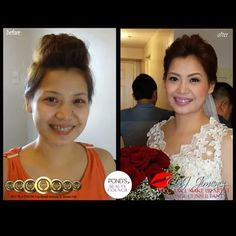 """I was in Singapore for Jen's wedding, so she booked Steph instead. She loved the trial make up and also the wedding look. Steph and Carla  were able to create an updo for her very short hair and a very romantic and fresh look. Her feedback to us """"Thank you for making my wedding a priceless memory! more power to CJ Jimenez Team!! Steph and Carla exceptional job you guys!!! hindi ako nagkamali ng pagpili sa inyo.. Sobrang bait nyo.. Thanks so much! Thanks ms cj. Super satisfied talaga ako…"""