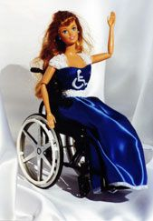 barbies  disabities | plastic doll in a blue and white gown with a bodice embellished with ...