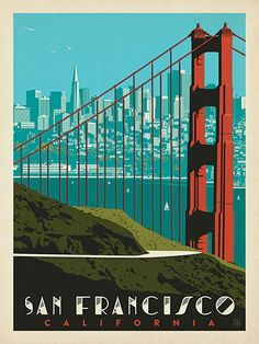 San Francisco: Golden Gate Bridge Skyline - Anderson Design Group has created an award-winning series of classic travel posters that celebrates the history and charm of America Photo Wall Collage, Picture Wall, New Wall, Retro Poster, Poster Design, Graphic Design, Vintage Travel Posters, Golden Gate Bridge, Poster Prints