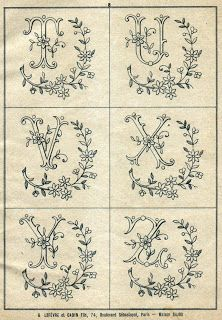 Free Easy Cross, Pattern Maker, PCStitch Charts + Free Historic Old Pattern Books: Sajou No 346 Embroidery Alphabet, Embroidery Monogram, Cross Stitch Alphabet, Ribbon Embroidery, Cross Stitch Embroidery, Machine Embroidery, Embroidery Designs, Embroidery Sampler, Vintage Embroidery Patterns