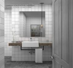 3d recreation of Copenhagen SP34 Hotel bathroom. Model and render by Isa Barrena.