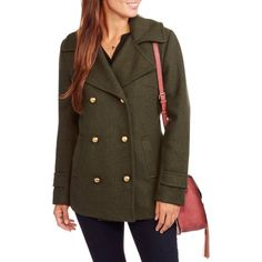 Maxwell Studio Women's Faux Wool Military Peacoat, Size: XS, Green