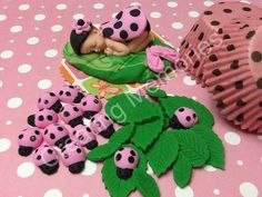 SET  Pink Lady Bug set Fondant Baby/ fondant ladybug/ by anafeke