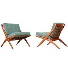 "Folke Ohlsson Teak ""Scissor"" Lounge Chairs for DUX"