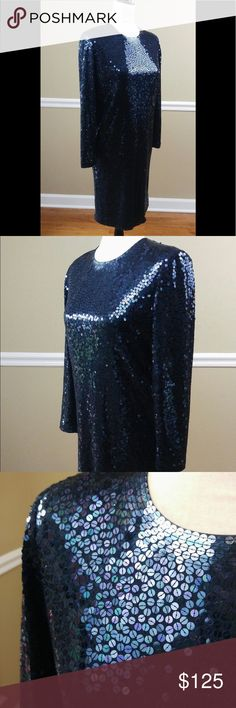 """Bill Blass blue sequin dress Beautiful dress. Fully lined. Has been let out to accommodate 34d. In near perfect condition. Hits below the knee for 5'4"""" woman. Bill Blass Dresses Long Sleeve"""