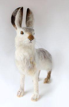 Large Needle Felted, White Tailed Jack Rabbit Sculpture, Life Like Jack Rabbit