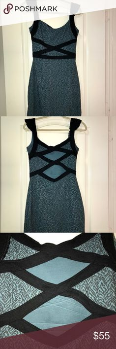 Sexy Free People Dress Sexy Free People Mini Dress. Teal and gray with black cross cross details and straps. Cut outs in back. Lined.  Size small. Free People Dresses Mini