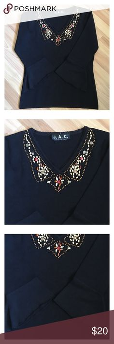"""J.A.C. Black L/S Beaded V-neck Lightweight Top In excellent condition J.A.C. Black Long Sleeve Beaded V-neckline, Lightweight knit top, Bell sleeves. Measurements laying flat: Bust (lying flat, underarm to underarm):15"""" Length (from shoulder to hem): 21"""" Sleeve Length:16"""" Feel free to browse my closet and if you have any questions!! All offers are welcomed! Sorry for the missing label but my mom would remove due to irritation they would give her. JAC Tops Crop Tops"""