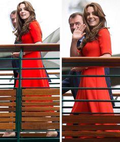 Wimbledon, July 8th 2015. Kate wearing a LK Bennett dress, DVF clutch, and Jimmy Choo pumps.
