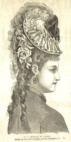1876. Victorian fashion plate, close up of a very high hair updo and tilted hat.