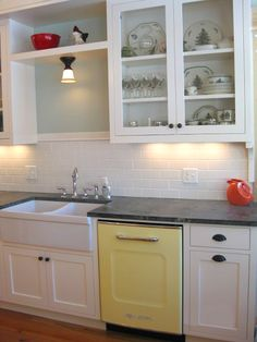 Fiesta ware, a yellow dishwasher and open cabinets can help decrease stress in a home with an Alzheimer's loved one. For the cabinets, I'd limit to just be open shelf, and not use glass or other reflective surfaces. Big Chill | Retro | Dishwashers | Big Chill Retro Dishwasher