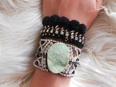 IN LOVE WITH THIS!!! #black #armcandy #bohemian #agate  https://www.etsy.com/listing/251756430/fabric-cuff-bracelet-green-agate?ref=shop_home_active_23