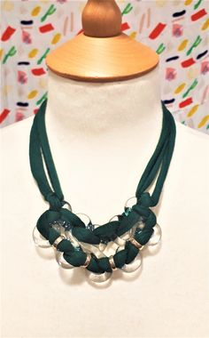 Green block colour textile yarn and glass figure of eight necklace by bdenglass on Etsy
