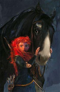 Awesome Disney Paintings & Drawings - Merida with Angus.  www.artistdds.com