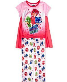 Pj Masks 3-Pc. Caped Pajama Set, Toddler Girls (2T-5T)