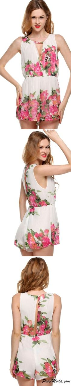$15.99 Only, Casual Summer Wear Pink Floral Chiffon Romper / Jumpsuit Open Back…