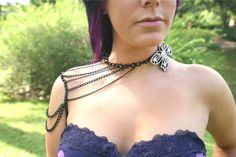 Upcycled Black Butterfly Chain Shoulder by MyOctoberCountry