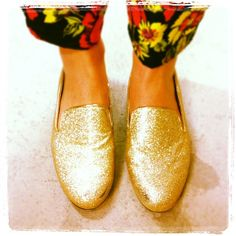 And the streets were paved with gold! These sparkly Therapy gold loafers are online at THE ICONIC.