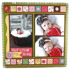 "Sweet ""Our Little Diva"" Scrapbooking Layout...Taylor Van Bruggen - Taylored Expressions.  I could not find the instructions for this page, but I am sure they are on the blog somewhere."