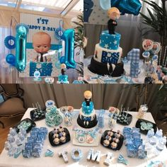 Baby boss party theme. Sweet table Boss Birthday, 1st Birthday Party Themes, Baby Birthday Cakes, Baby Boy 1st Birthday, Birthday Party Decorations, Birthday Ideas, Boss Baby, Baby Party, Baby Theme