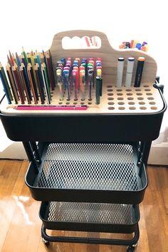 Hand-Crafted Products Built with True Craftsmanship. by CarriageWoodworks Ikea Raskog Cart, Ikea Cart, Art Studio Organization, Artist Supplies, Craft Storage, Marker Storage, Space Crafts, Custom Wood, Getting Organized