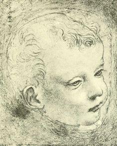 dessins Léonard de Vinci - Dessins Leonard de Vinci - tete d enfant cheveux clairsemes sur le front - Gravures, illustrations, dessins, images