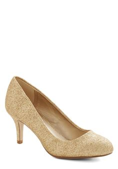 At a Moment's Notice Heel in Glitter - Mid, Gold, Glitter, Prom, Wedding, Party, Cocktail, Girls Night Out, Holiday Party, Bridesmaid, Good, Variation