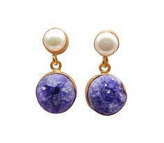 Natural Semi Precious Two Gemstone Druzy and Fresh Water Pearl Stud Dangle Earring With 22k Yellow Gold Plated Handcrafted Jewelry Collection
