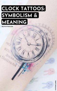 Clock Tattoos: Meaning And Symbolism | Clock Tattoo Ideas - What does time mean to you? Time is the one thing that we are bound by yet cannot control. Clocks and time can be an amazing theme for a tattoo. Click here to read more about the meaning and symbolism behind clock and time tattoos. Self Tattoo | Body Art | Tattoo Designs | Small Tattoos | Meaningful Tattoos | Tattoos For Women | Tattoos For Guys | Clock Tattoo Design | Tattoo Ideas | Clock Tattoo Sleeve | Clock And Rose Tattoo Time Clock Tattoo, Clock Tattoo Sleeve, Clock And Rose Tattoo, Sleeve Tattoos, Clock Tattoo Design, Tattoo Designs, Time Tattoos, Tattoos For Guys, Skull Tattoos