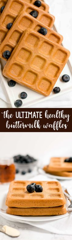 The BEST Healthy Buttermilk Waffles -- only 102 calories! They're truly perfect! Light, fluffy, crispy on the outside... And baked in the oven! SO easy & good! I make these every single week! ♡ low calorie healthy waffles. clean eating healthy waffles. whole wheat healthy waffles with greek yogurt. oven baked waffles. best ever waffles recipe.