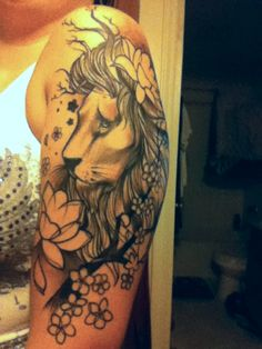 lion tattoo with flowers - Google Search