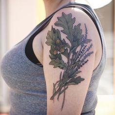 Alice Carrier Tattoo--Oak and lavender - thanks Maren! Via Instagram.