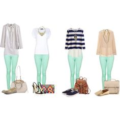 """Mint Green Skinny Jeans Combo Outfits"" by foxyclaire on Polyvore"