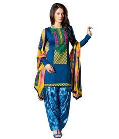 Indiweaves Casual Wear Designer Cotton Salwar Suit Dress Material ...
