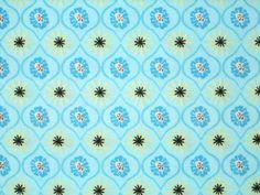2YD Last Piece Aqua Blue FUNKY FLOWERS Modern Floral Daisy Henry Glass Fabric #HenryGlassCo