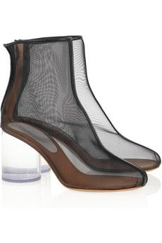 lovely mesh boots, but are they comfortable.  I don't know with that Lucite heel.