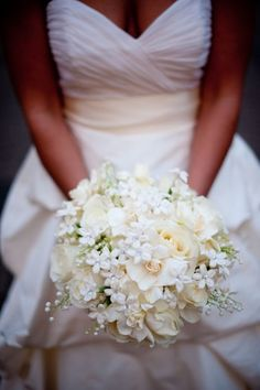 White bridal bouquets, ivory bridal bouquets, gardenias, stephanotis, lily of the valley