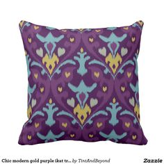 Chic modern gold purple ikat tribal pattern